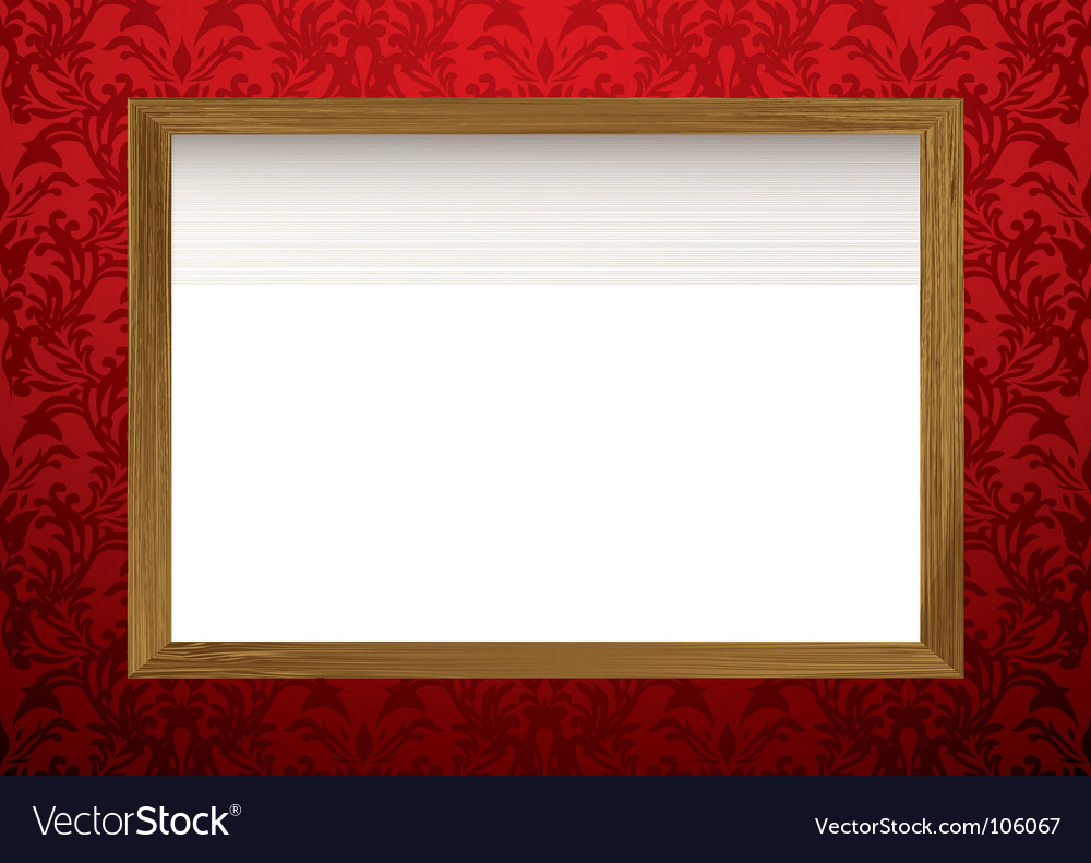 Wood frame on red vector
