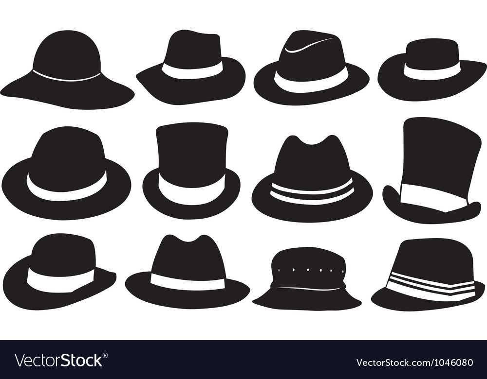 Set of different hats vector
