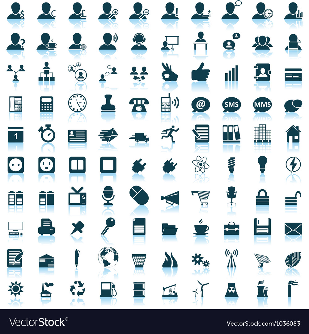 Icon set 100 vector