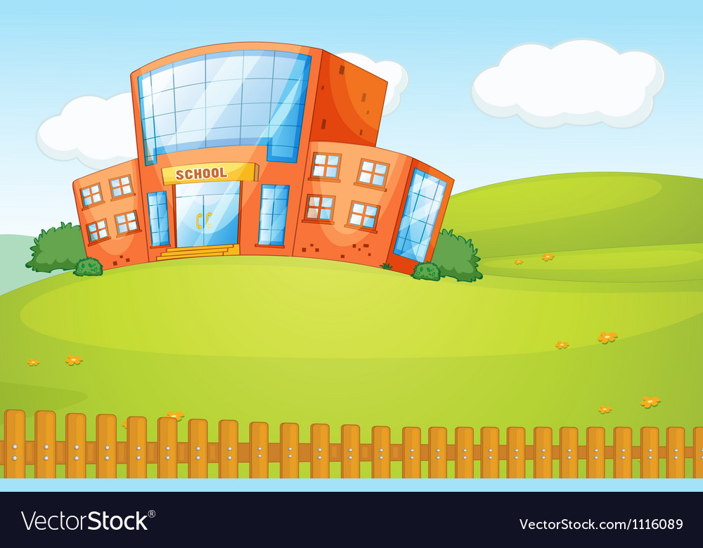 A school in beautiful nature vector