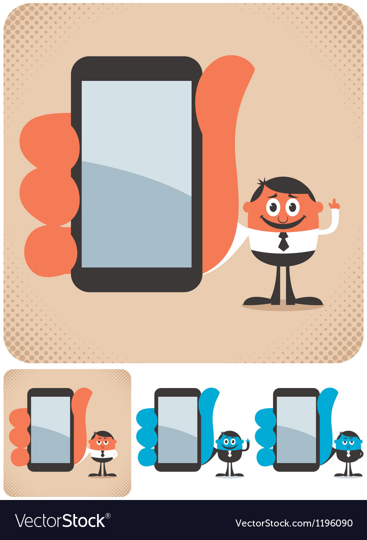 Holding smartphone vector