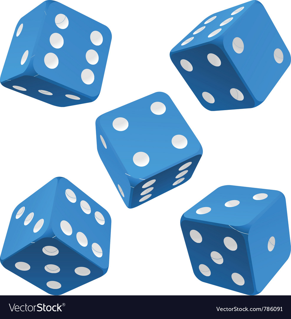 Blue dice set icon vector