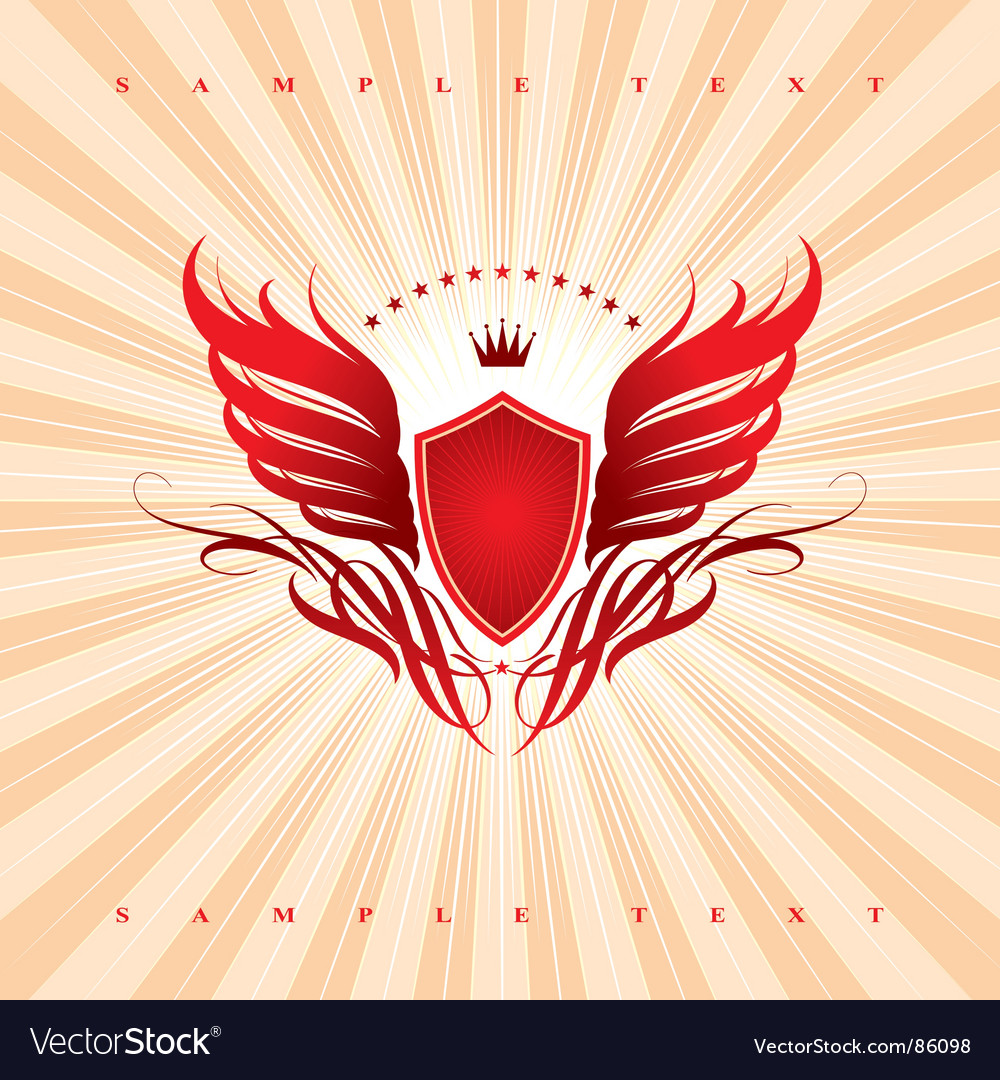 Wings shield and crown vector