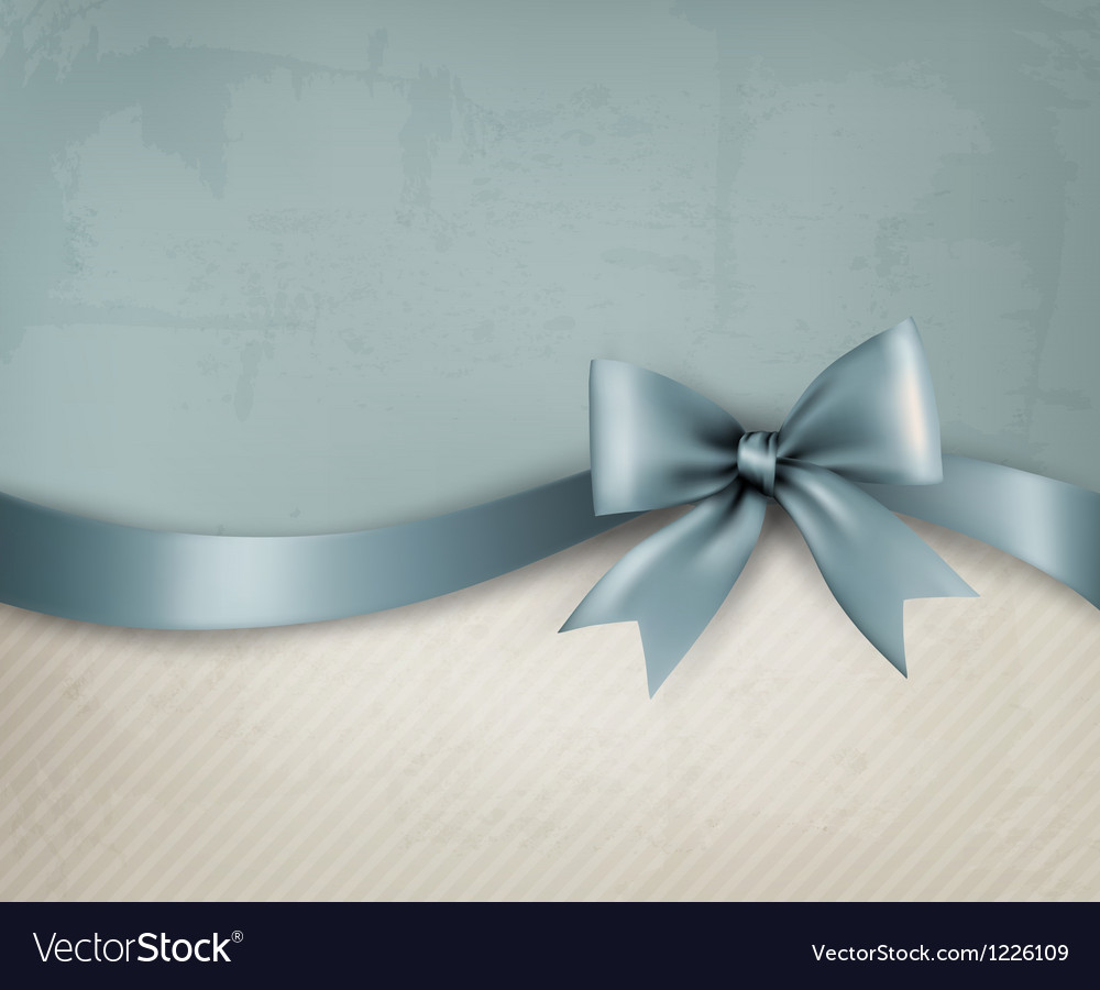 Holiday background with old paper and gift bow and vector