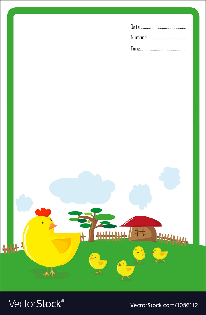 Background hen and chick cartoon vector