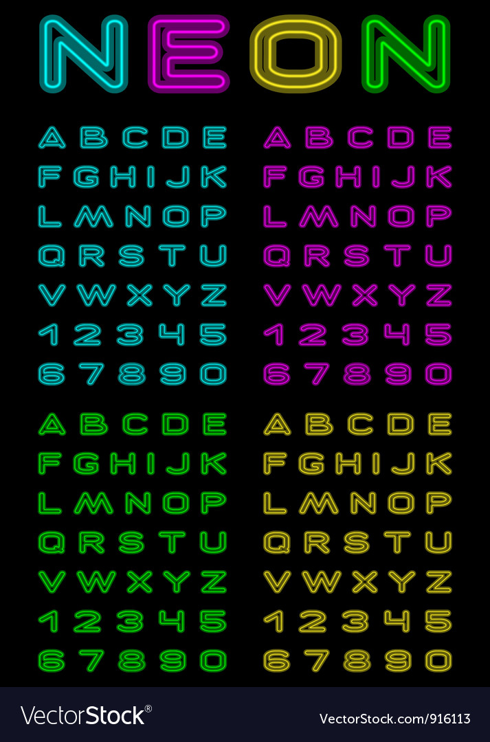 Neon color font vector