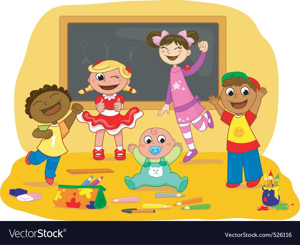 Five happy kids in a school cl vector