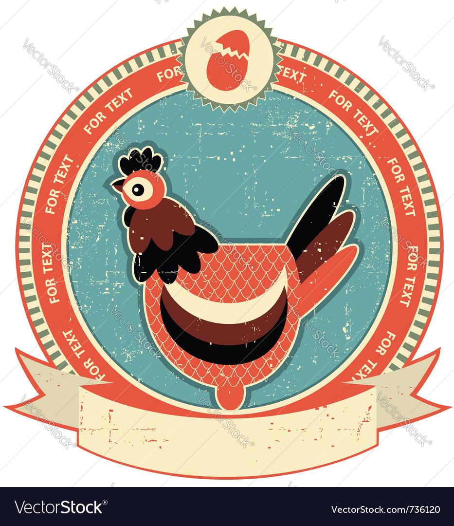Chicken head label vector