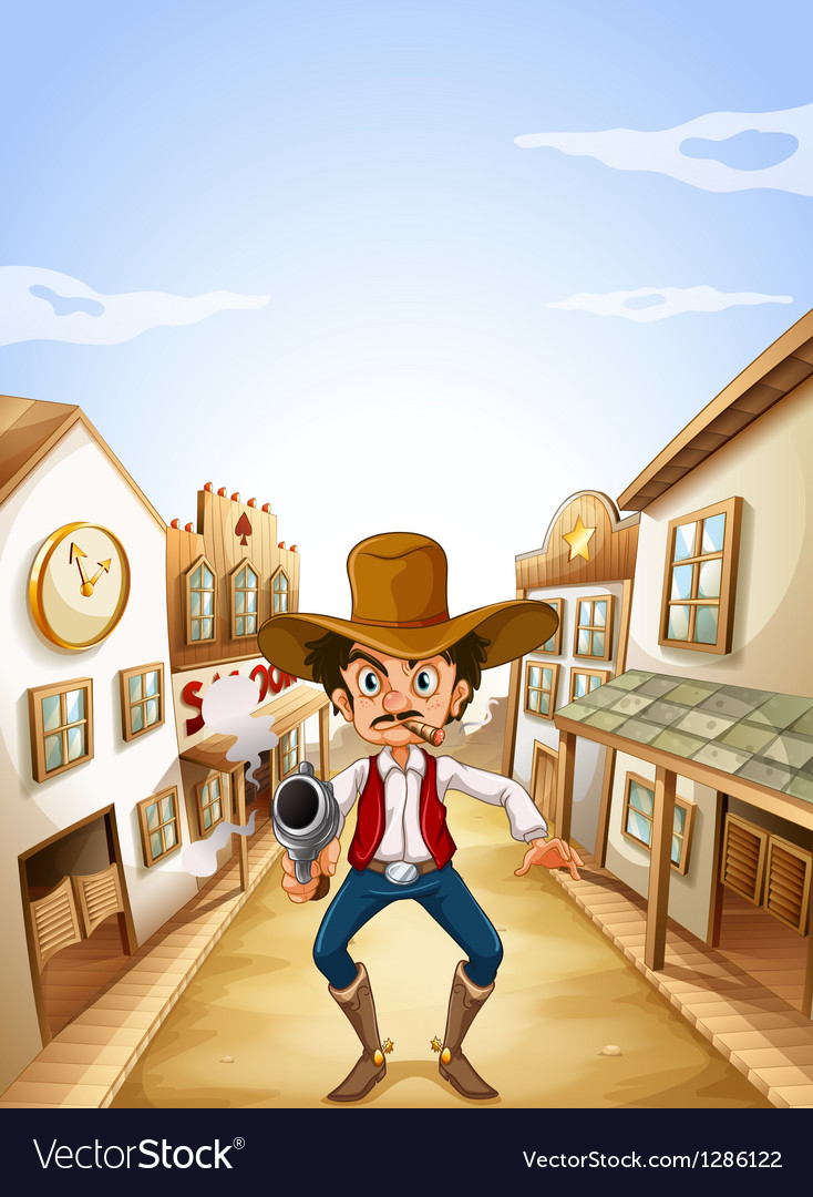 A gunman at the village vector
