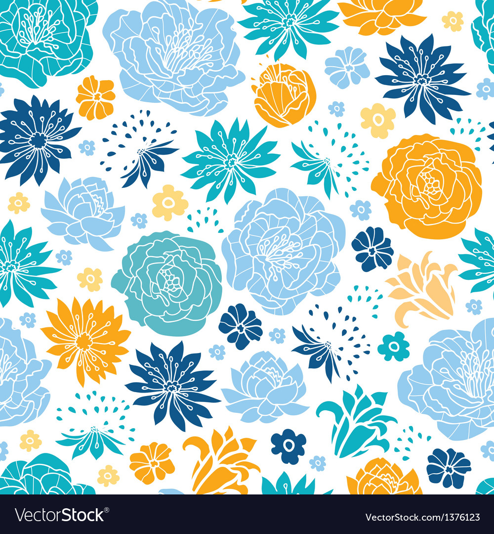 Blue and yellow flowersilhouettes seamless pattern vector