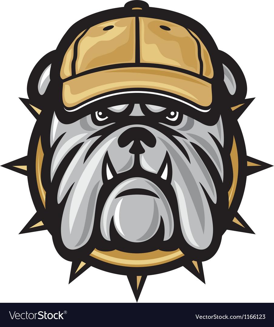 Bulldog head and baseball cap vector