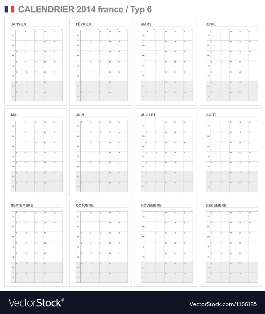 Calendar 2014 france type 6 vector