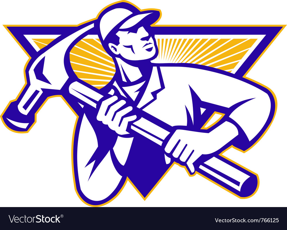 Carpenter construction worker vector