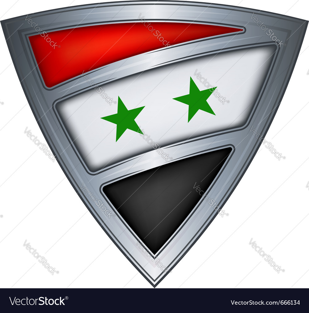Steel shield with flag syria vector