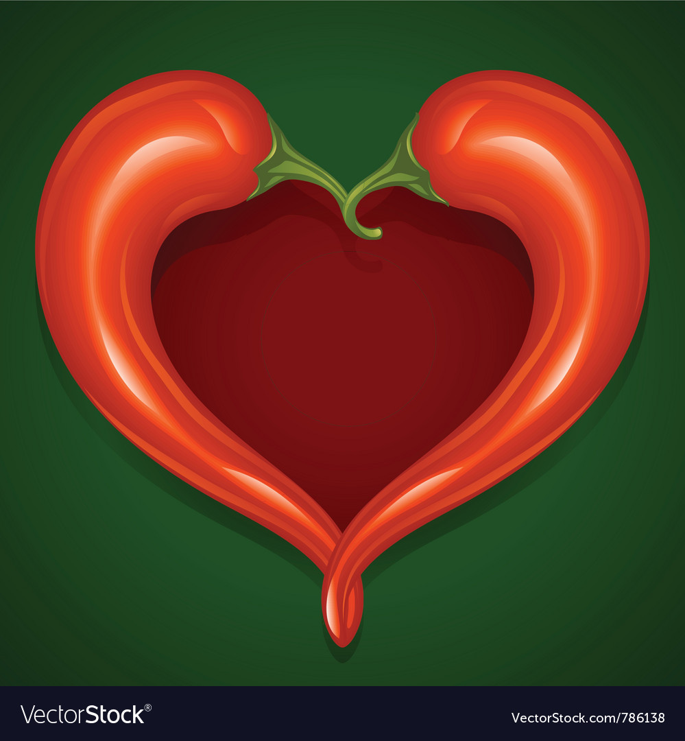 Two red hot chilli pepper frame vector