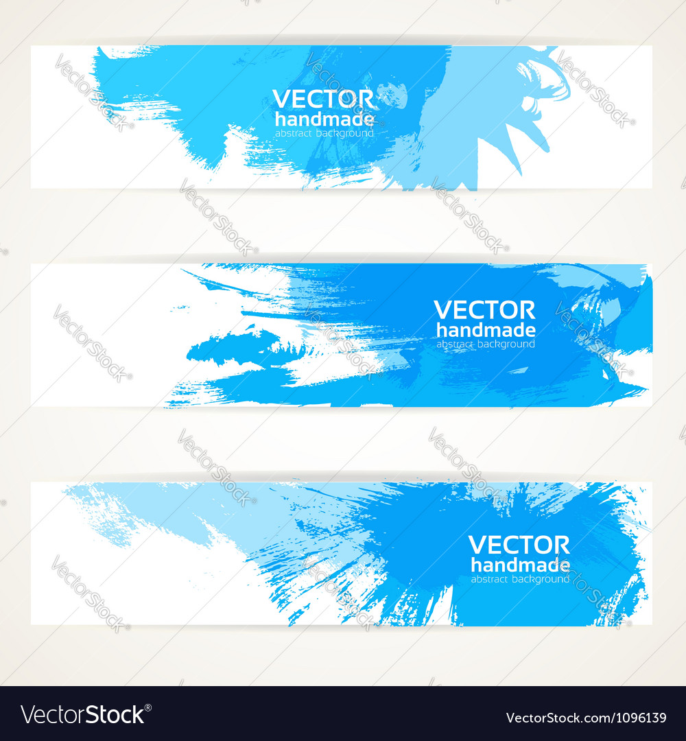 Abstract blue handdrawing banner set vector