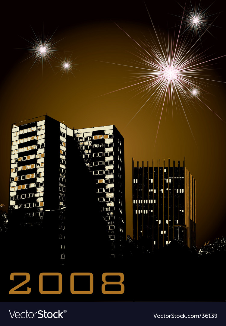 New year city fireworks vector