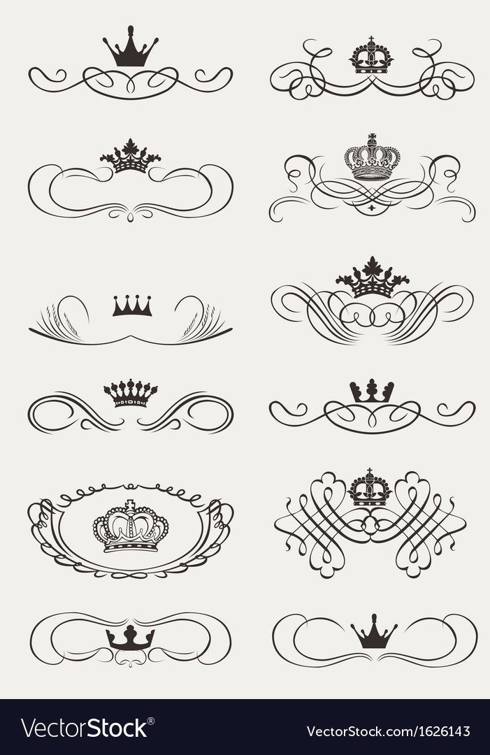 Royal crown calligraphy vector