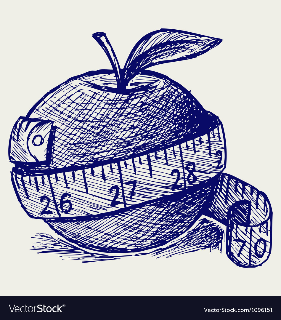 Apple and measure tape vector