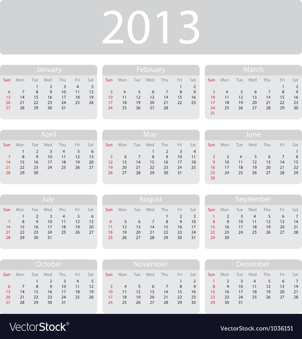 Minimalistic 2013 calendar vector
