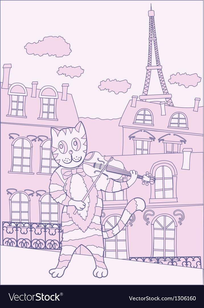 Cat the violinist in pink paris vector