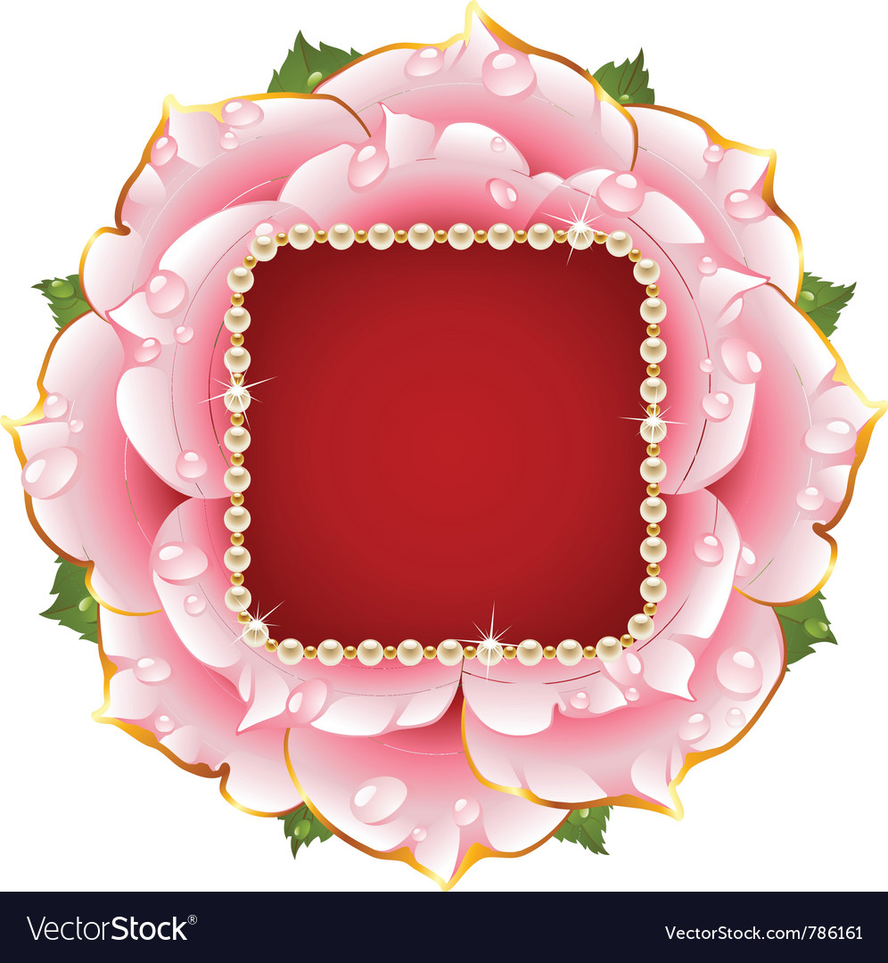 Pink rose circle frame with pearl necklace vector