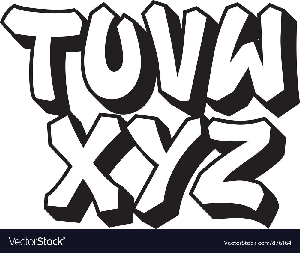 Graffiti font part 3 vector
