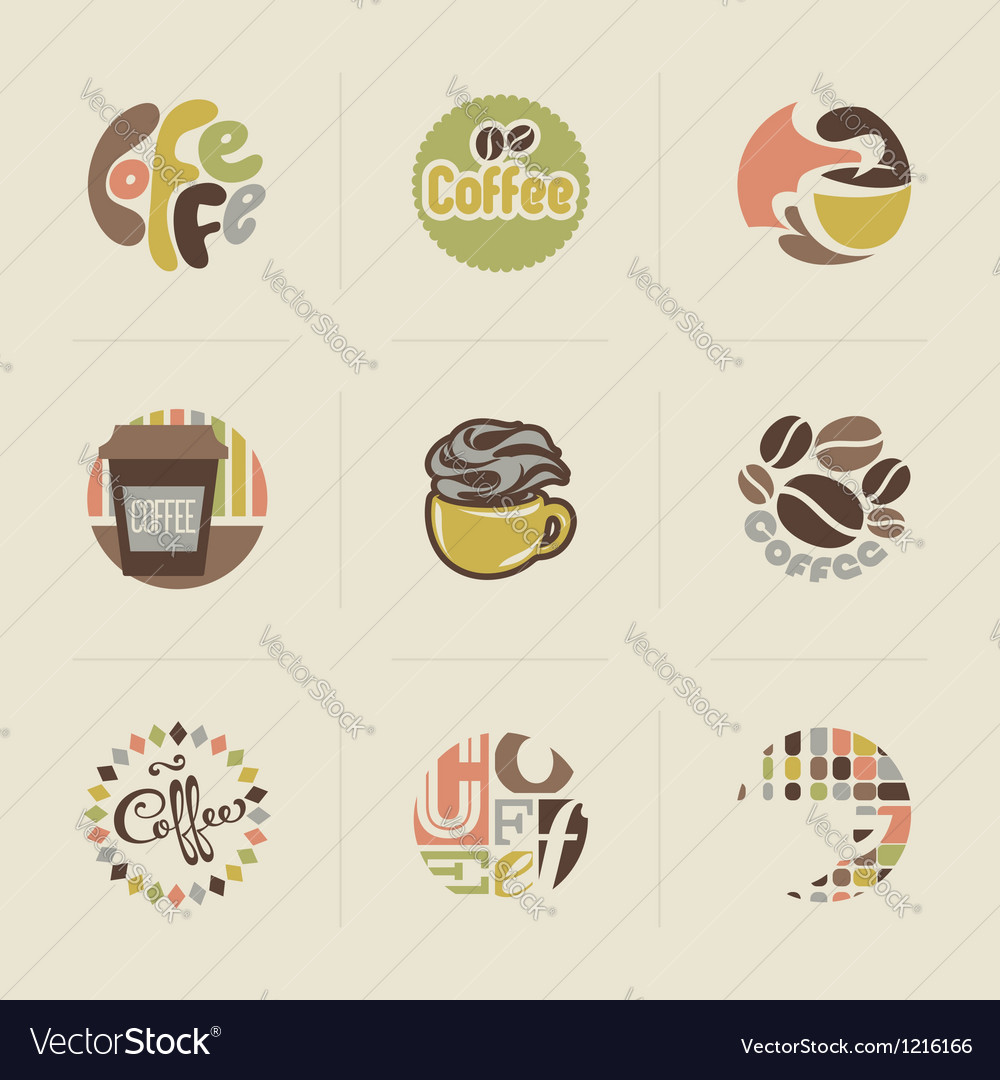Retro coffee emblems vector