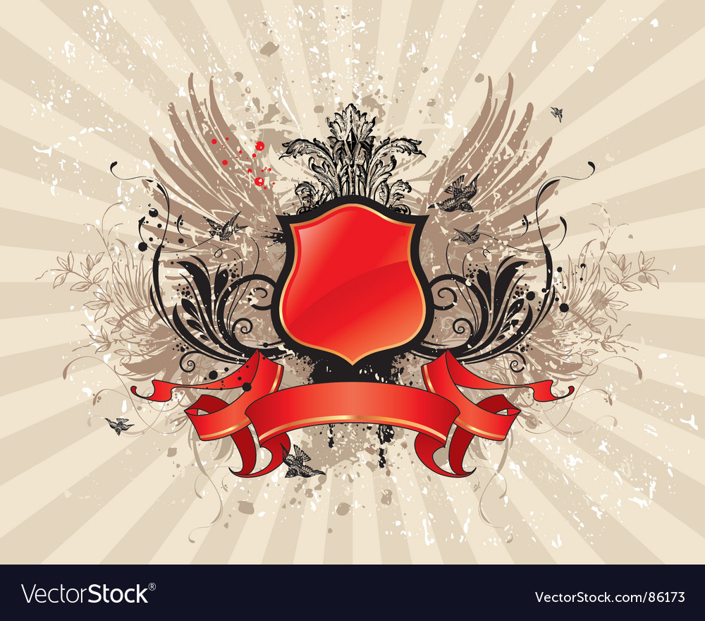 Vintage illustration with red banner vector