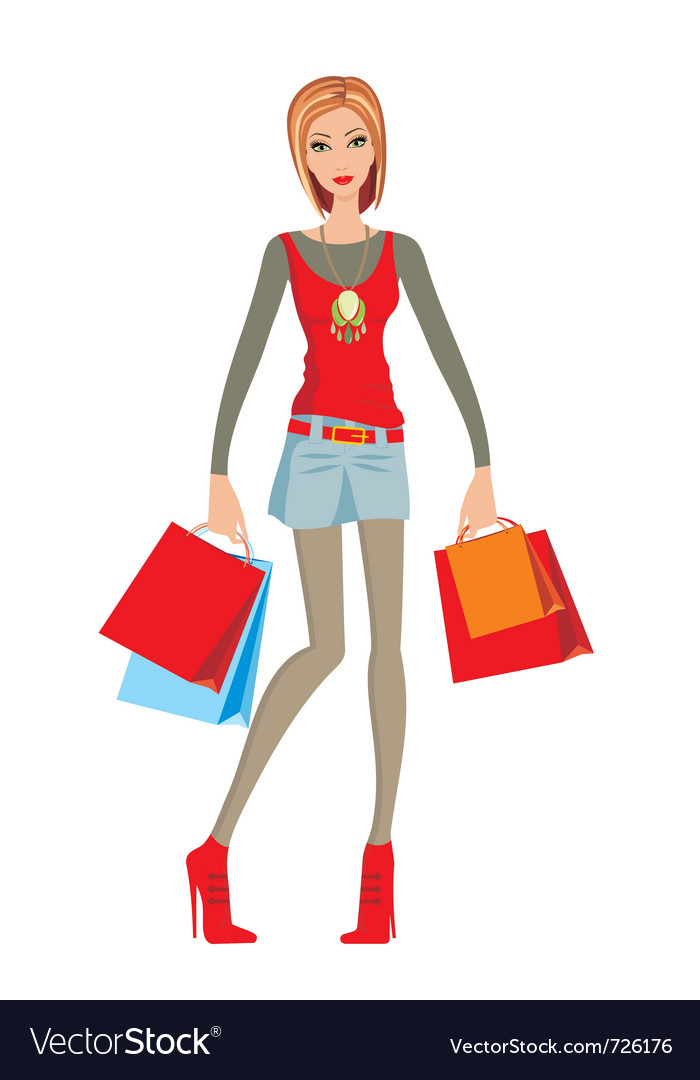 Young woman makes shopping vector