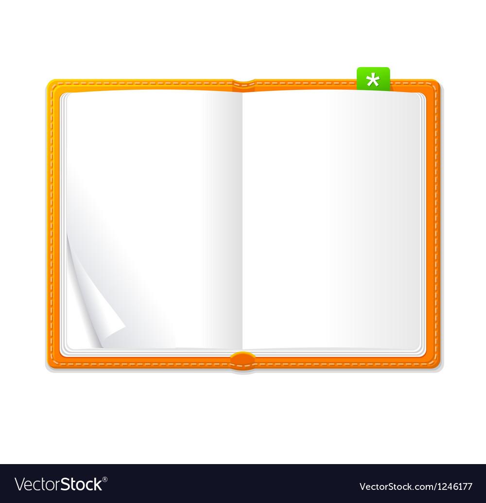 Empty open book vector
