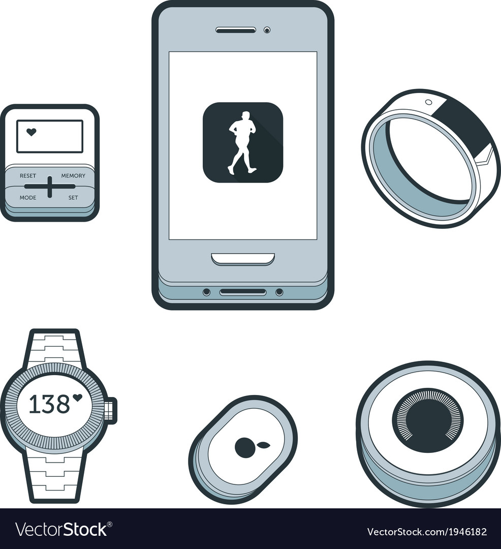 Wearable fitness devices vector