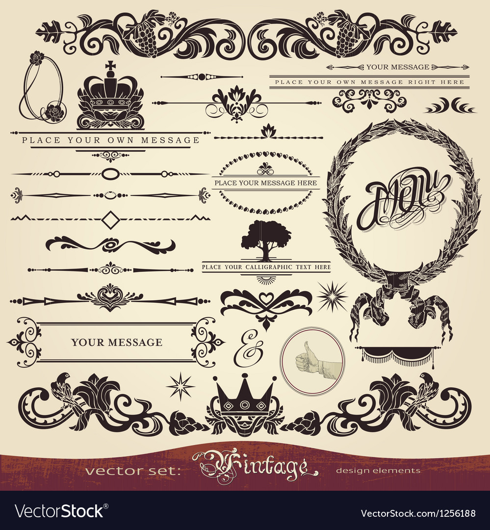 Vintage calligraphy set vector