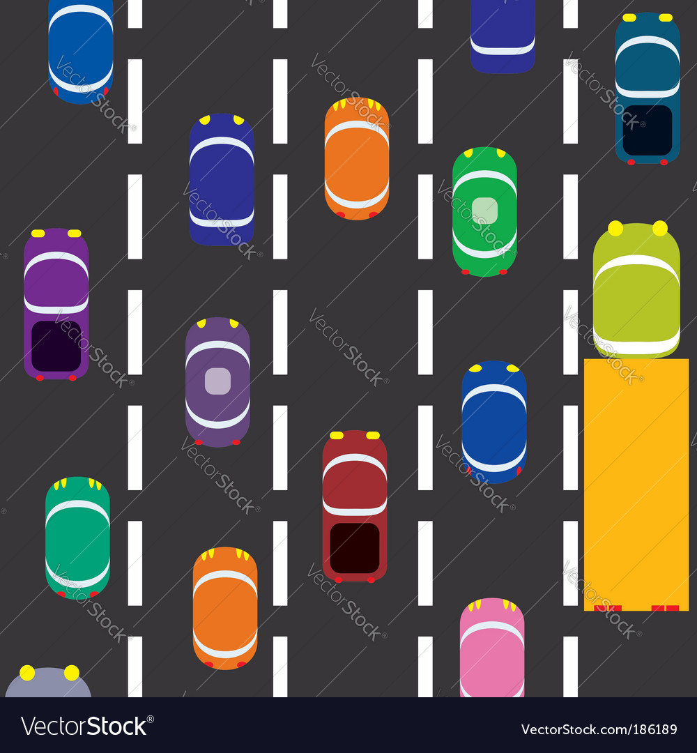 Cars on the road vector