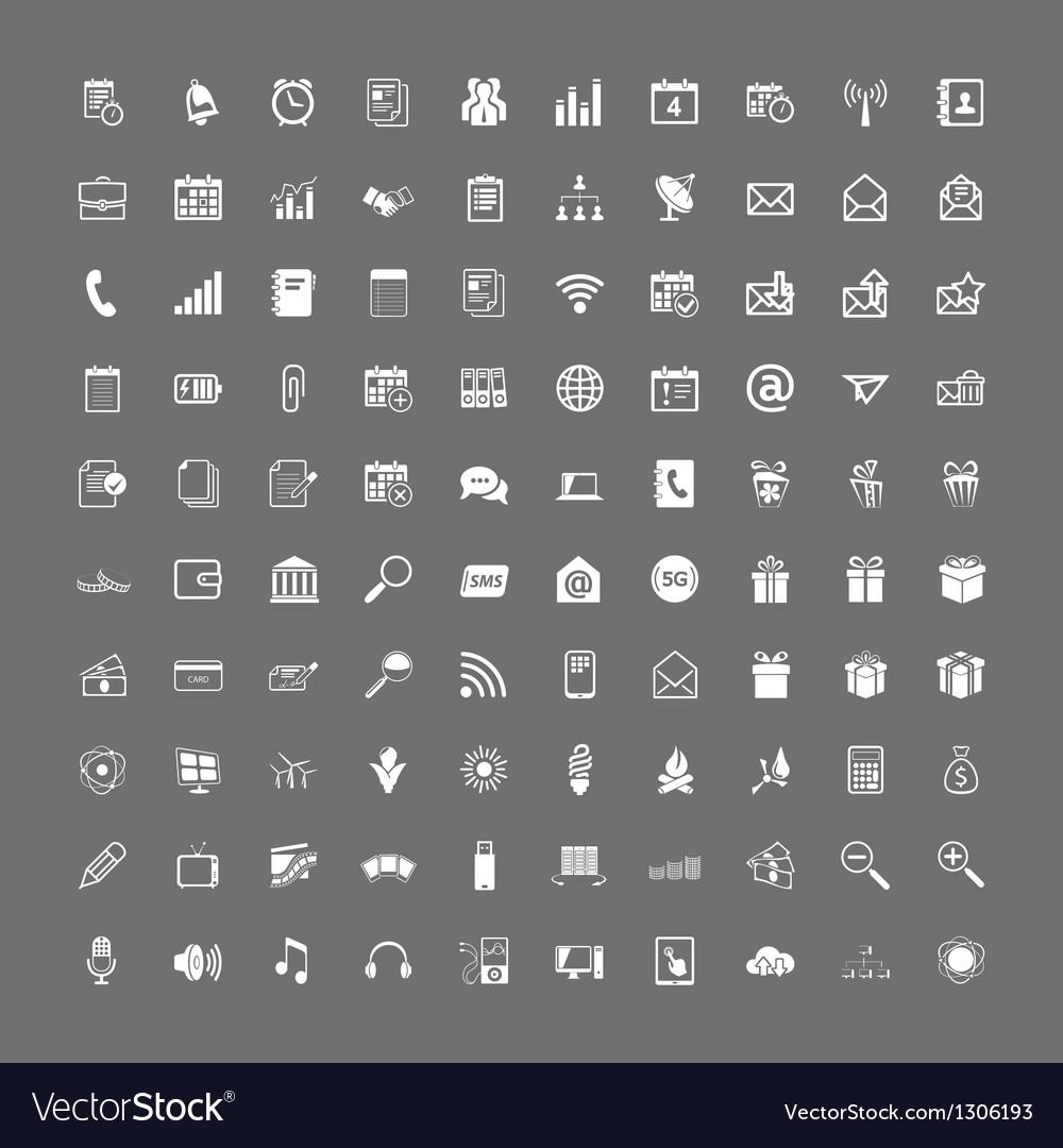 100 universal web icons set vector