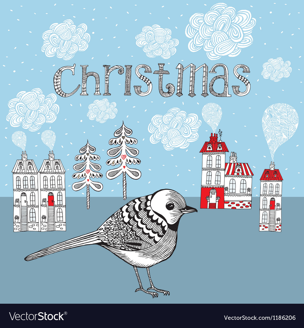 Christmas card with bird and winter little town vector