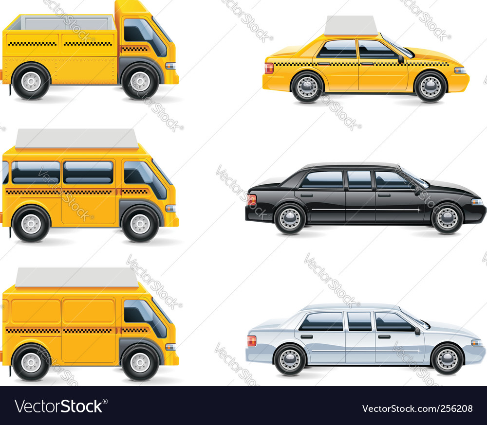 Taxi service icon set  vector