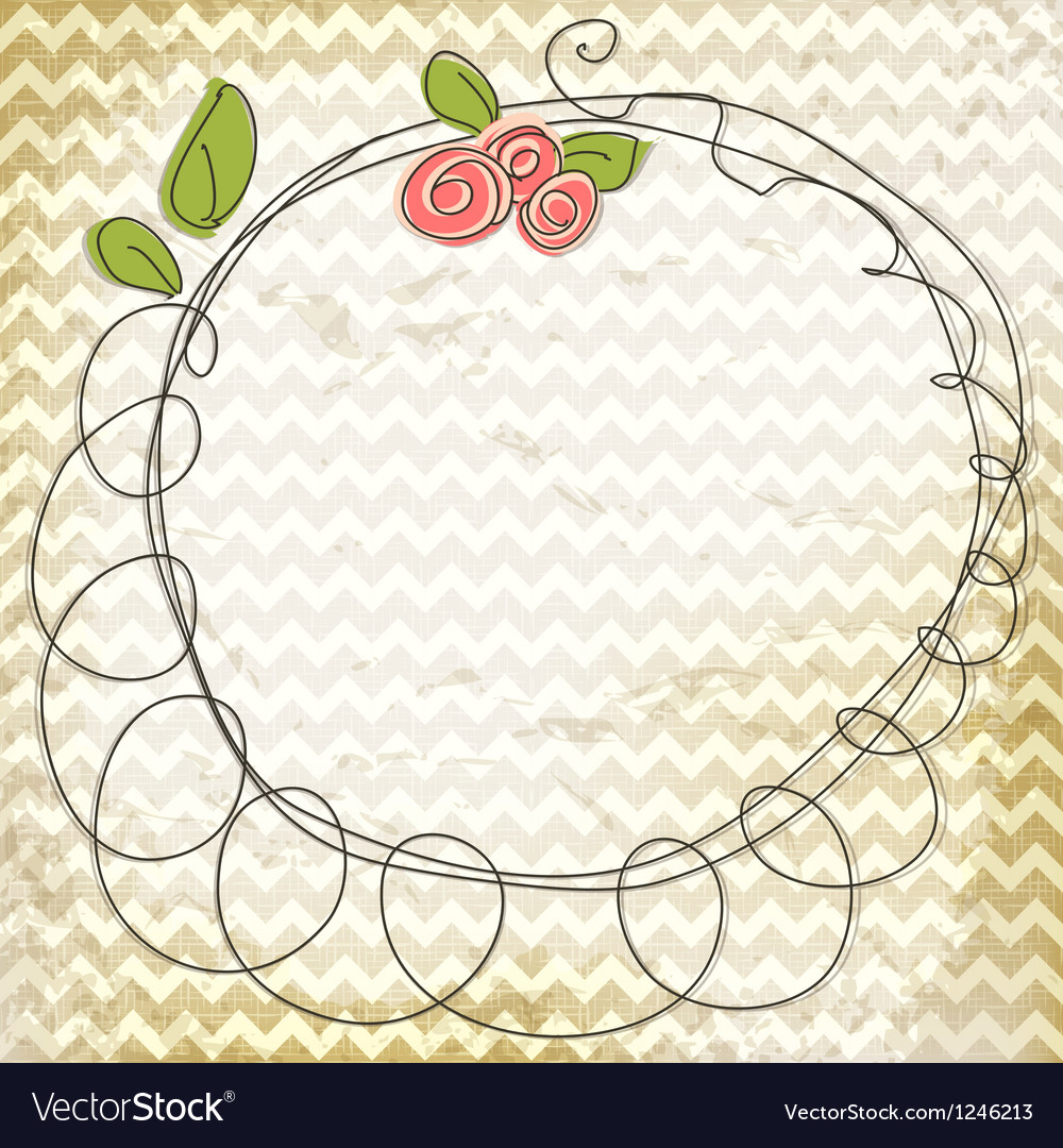 Floral doodle frame vector