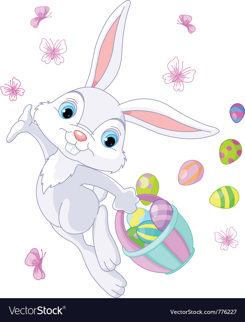 Bunny hiding eggs vector