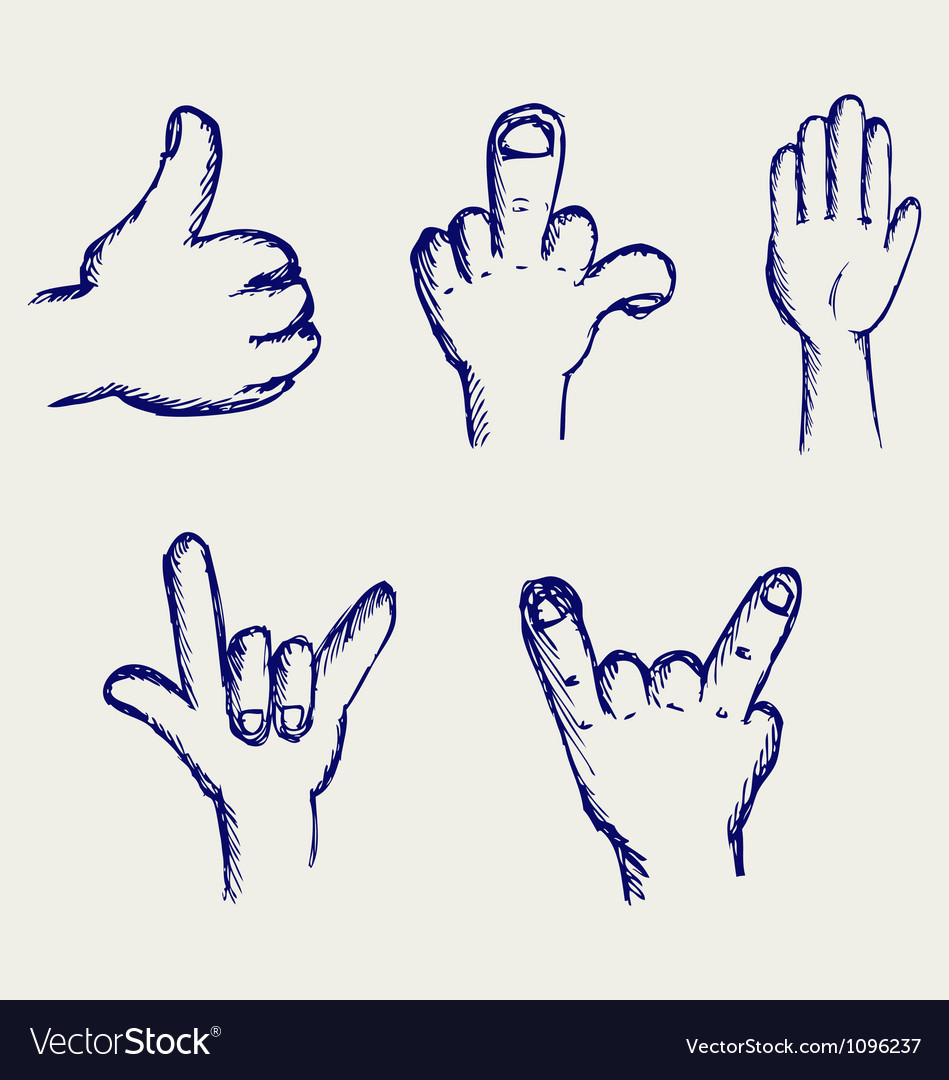 Set of many different hands vector