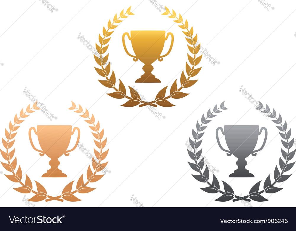 Golden silver and bronze awards vector