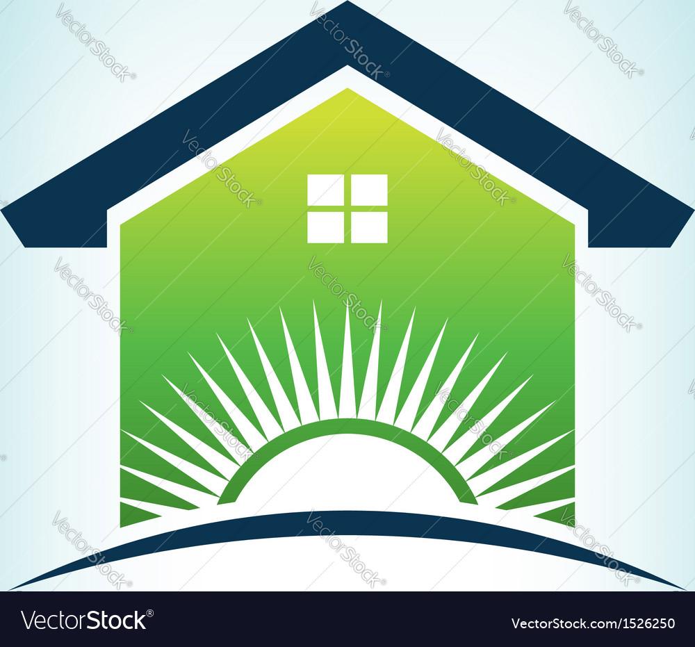 Solar house logo vector