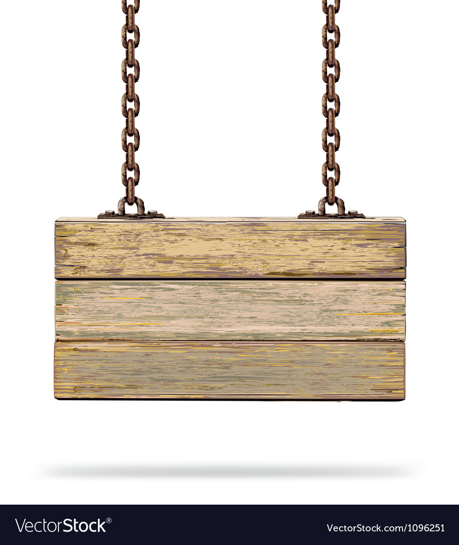 Old color wooden board with rusty chain vector