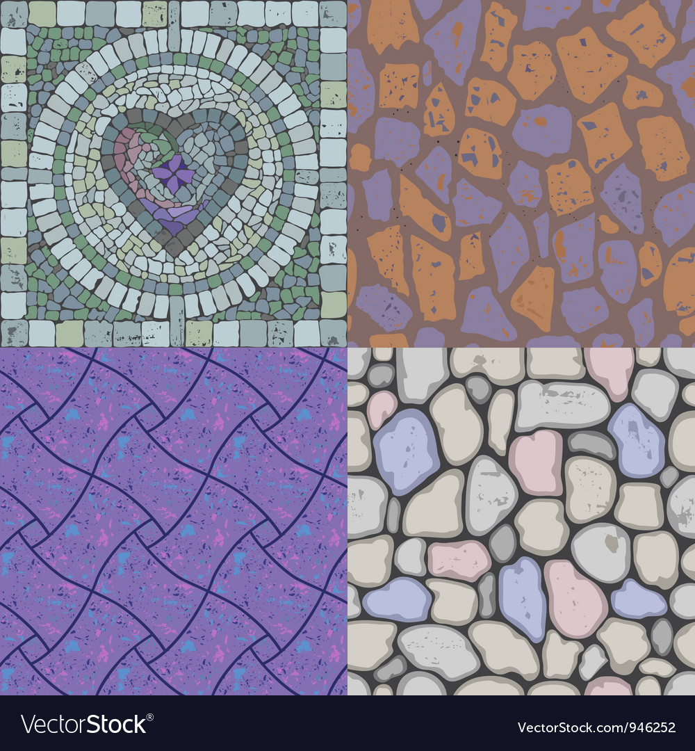Set of floor stone textures vector