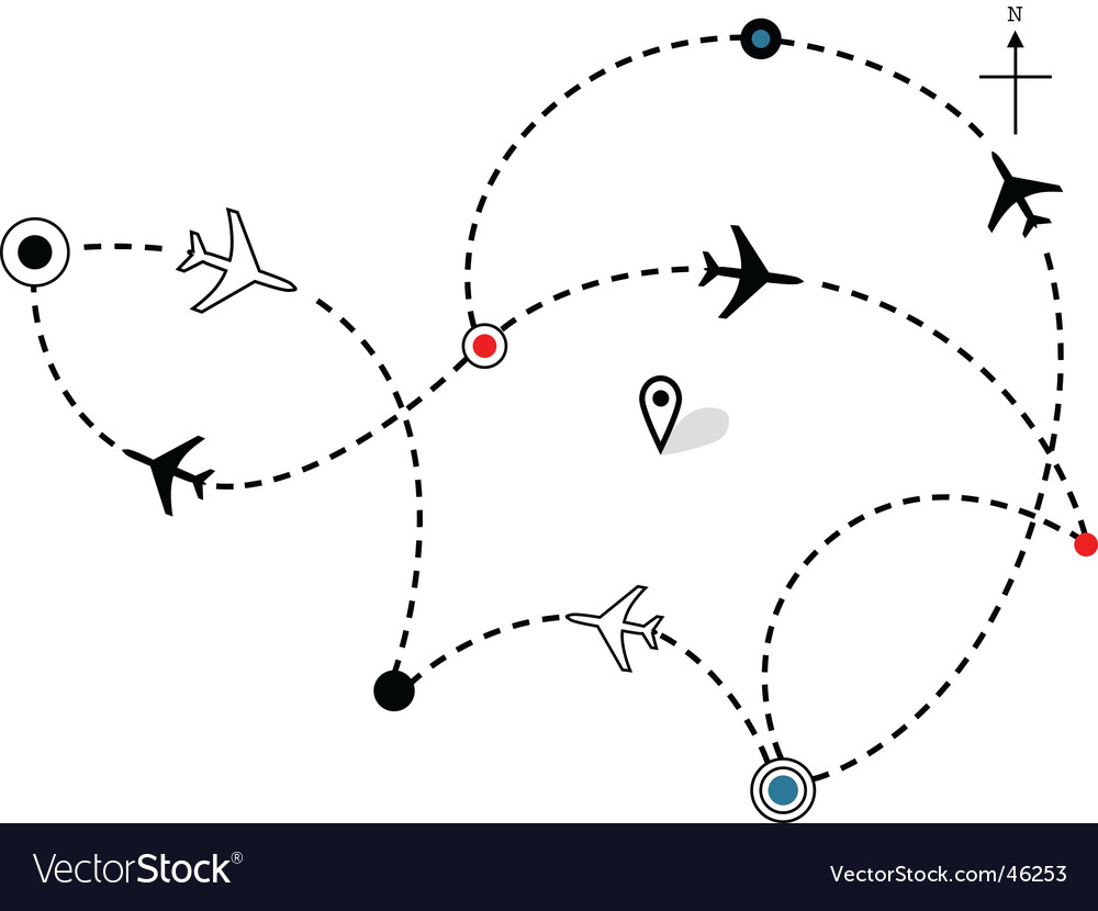 Airline plane flight path vector