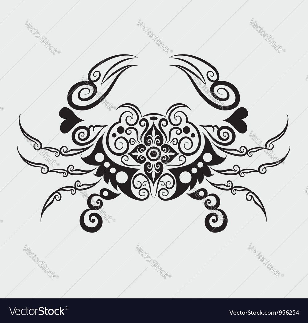 Crab ornament vector