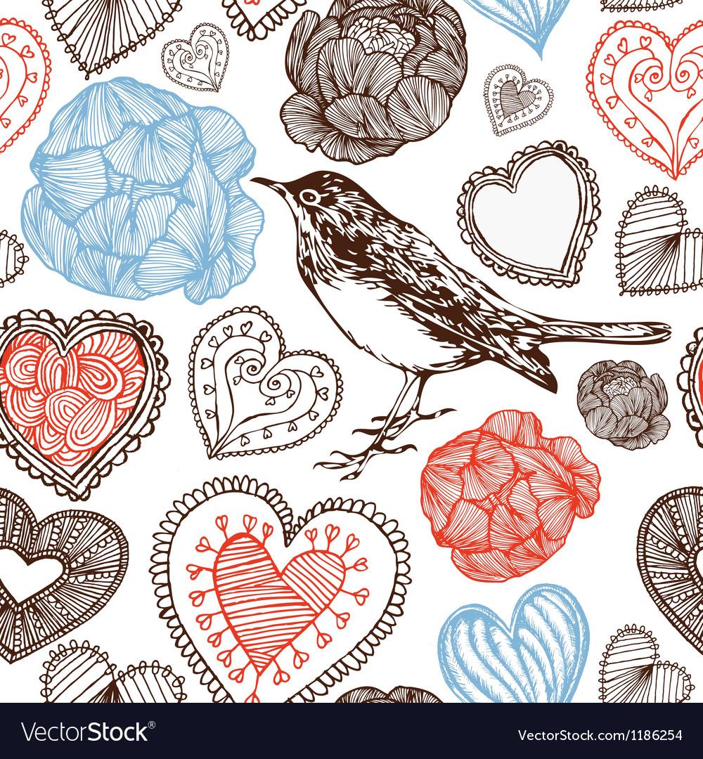Hearts and bird vector