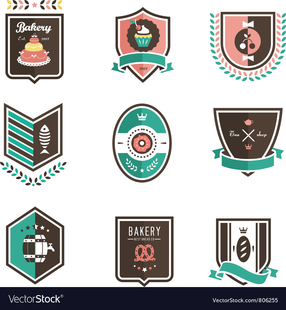 Food emblems vector