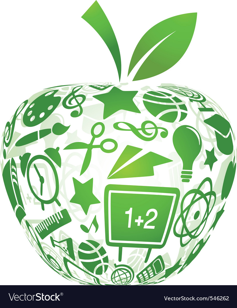 Back to school apple with education icons vector