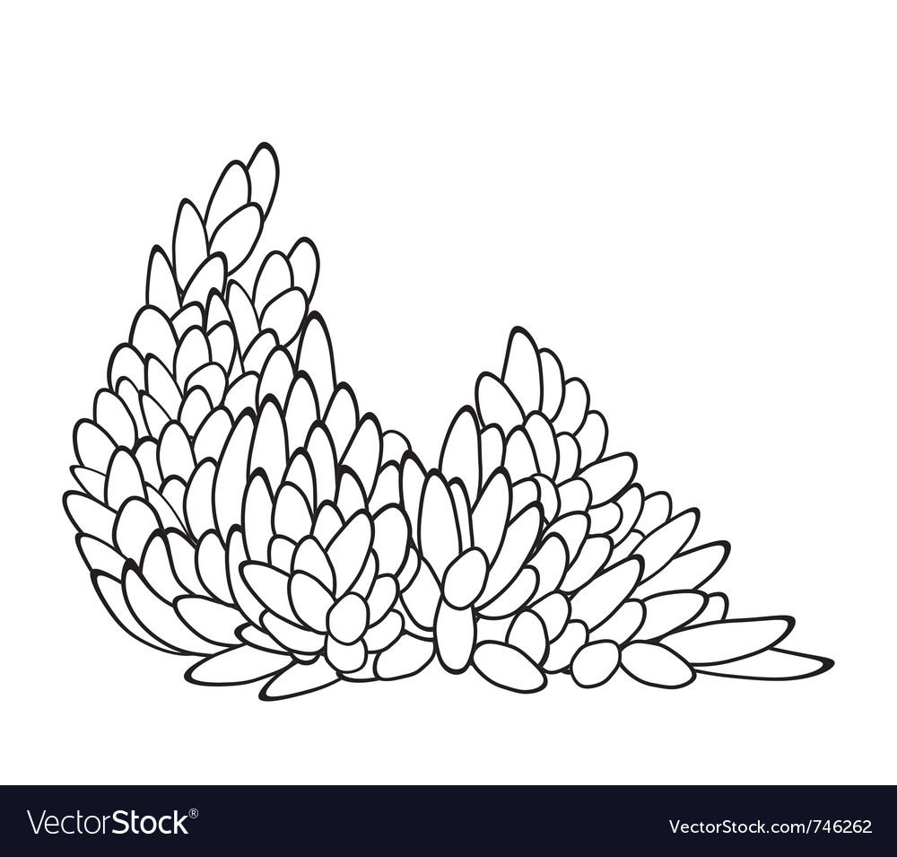 Leaf pattern in black and white vector